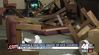 Vandals destroy inside of KCK Church - Video