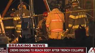 Crews work to recover man's body from collapsed trench - Video