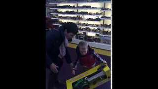 Little Boy Loves His New Tractor - Video