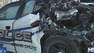 Grand Chute Squad Car Hit While Conducting Rollover Investigation - Video