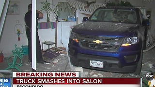 Truck smashes into Escondido salon - Video
