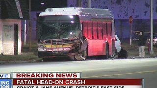 Driver dies after crashing head-on into a DDOT bus on Detroit's east side
