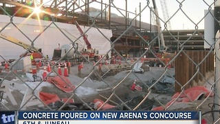 Concrete poured on new Bucks' arena concourse - Video