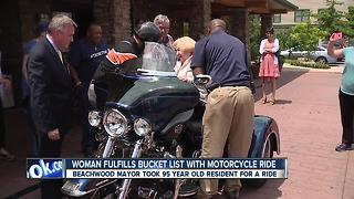 Peggy Einstein, age 95, rides on a Harley with Beachwood mayor - Video
