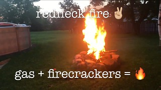 How to start a fire with gasoline and firecrackers - Video