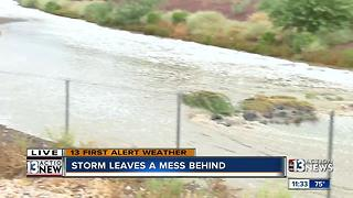 Water rises quickly in wash after storm - Video