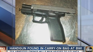 Handgun found in man's carry on at BWI - Video