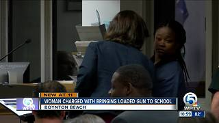 Boynton Beach mom charged with having gun on school campus - Video