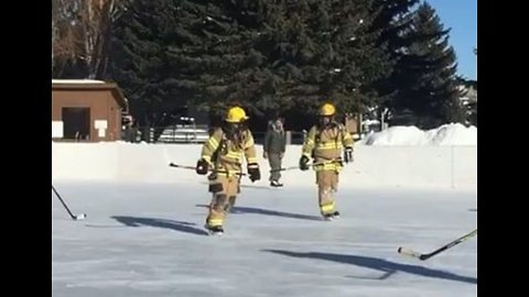 Wyoming Firefighters Make Training Fun With Hockey Game