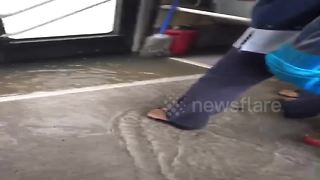 Bus ride through severe Thailand floods