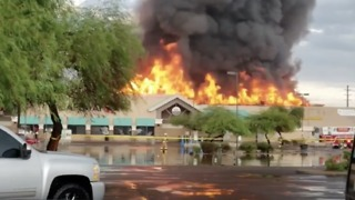 Roof Collapses as Flames Engulf Phoenix Safeway - Video