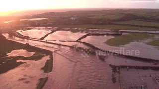 Aerial views of Cumbria floods - Video