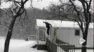 Snowboarding from roof goes wrong || Viral Video UK - Video