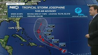 Tropical storm Josephine weakens