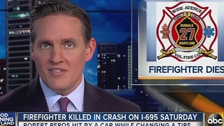 Firefighter killed in crash on I-695 Saturday - Video