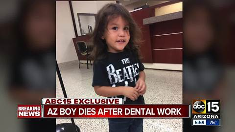 Family says a Yuma 2-year-old died after a dental appointment