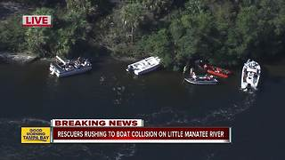 Crews work to rescue boaters after collision on Little Manatee River - Video