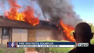 Firefighters battled fourplex fire for nearly 2 hours, three families displaced - Video