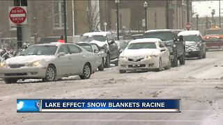 Lake effect snow pummels Racine County - Video