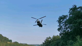 helicopter flying low in Sheffield, England