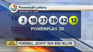 Powerball lottery drawing for January 3, 2018: No winning tickets sold; jackpot now $550 million - Video
