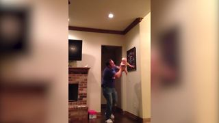 Baby With Super Powers Flying In Her Dad's Arms