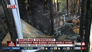 Overnight fire engulfs mobile home in North Fort Myers - Video