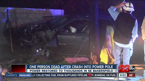 One person dead and two others injured after driver hits power poll