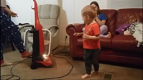 Baby Brother Scared of the Vacuum   So Funny!!