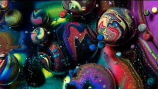 A psychedelic mixture of oil, soap, and paint
