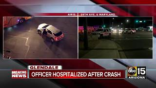 Glendale police officer injured in crash - Video