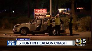5 people hurt in head on crash in Chandler - Video