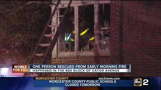 One person rescued from early morning Baltimore fire - Video