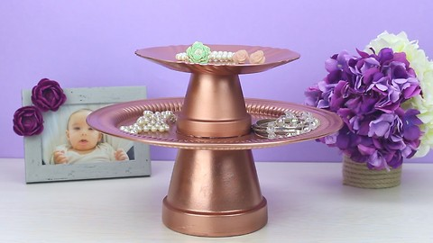 How to Make a Gorgeous Jewelry Holder From Clay Pots - DIYnCrafts.com
