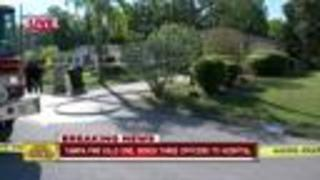 Tampa house fire kills one, three Tampa police officers hospitalized - Video