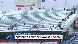New Era Field Stadium snow cleanup - Video