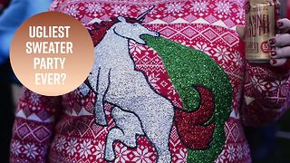 Party with the ugliest Christmas sweaters in Detroit - Video