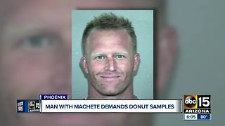 Man threatens donut employee after being refused free samples - Video