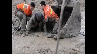 Firefighters rescue woman trapped in mud - Video