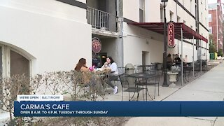 Carma's Cafe is open Tuesday through Sunday in Charles Village