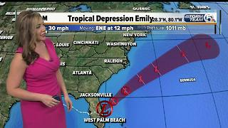 Tropical Depression Emily - 5am update - Video