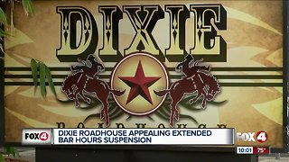 Dixie Roadhouse appealing extended bar hours suspension