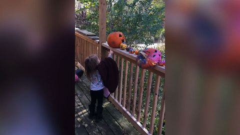 Girl Gives Tearful Good Bye To Pumpkin