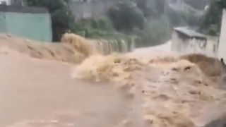 River Banks Close to Bursting in Hong Kong as Red Rainstorm Warning Issued - Video