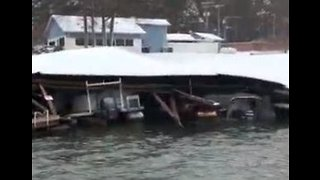 Marina Boat Houses Crushed by Heavy Snow in North Carolina - Video