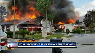 Fast-growing fire destroys 3 homes