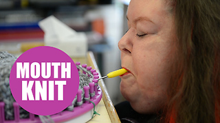 Amazing video of quadriplegic woman who knits with her mouth - Video