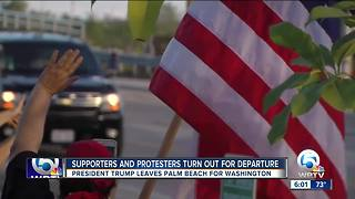 Supporters and protesters turn out for President Trump's departure - Video