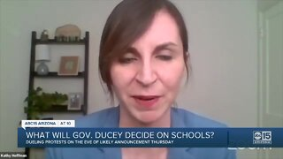 What will Governor Ducey decide on schools?