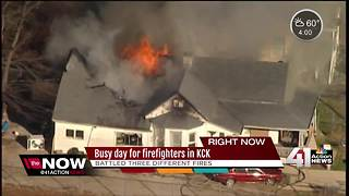 KCK firefighters battle 3 separate fires - Video